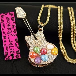 Betsey Johnson guitar necklace